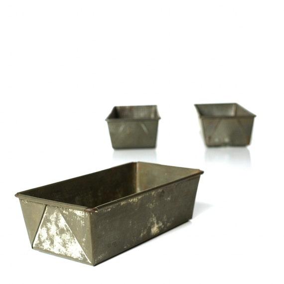 Vintage Baker's Bread Tins, Set of Three