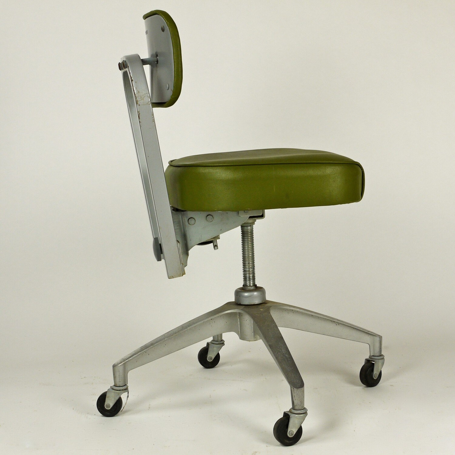 Vintage 1950s Cole Steel Swivel Metal Office Desk Chair
