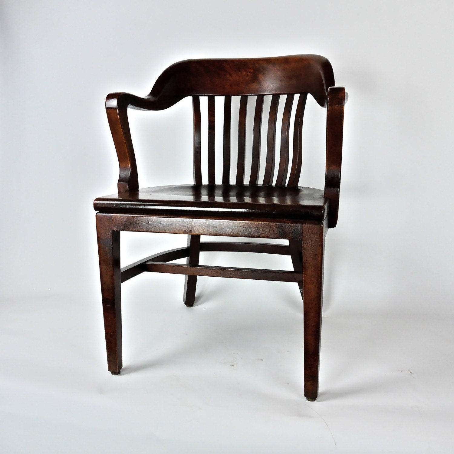 Antique Post War Wooden fice Library Chair