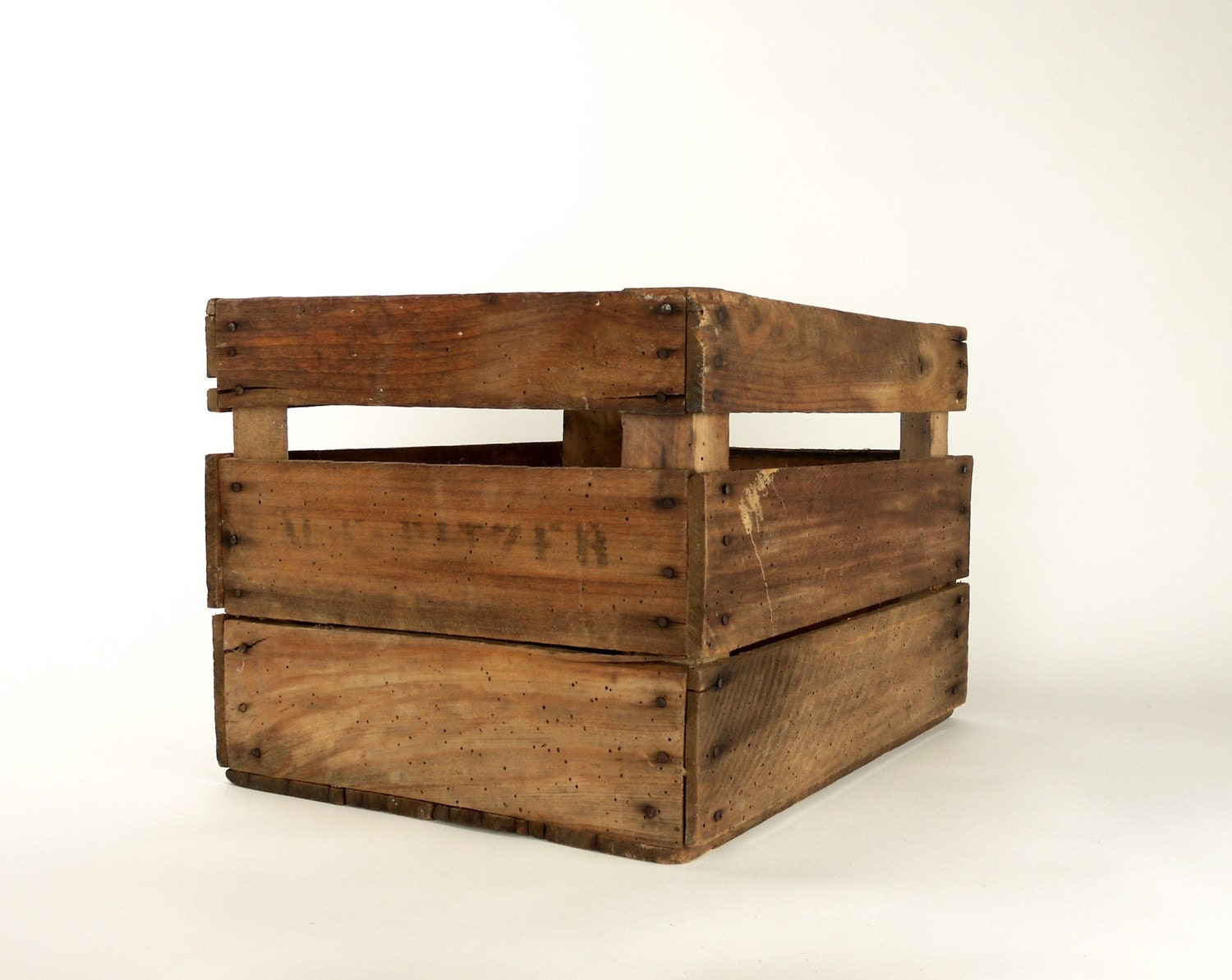 vintage wooden apple orchard fruit field crate box