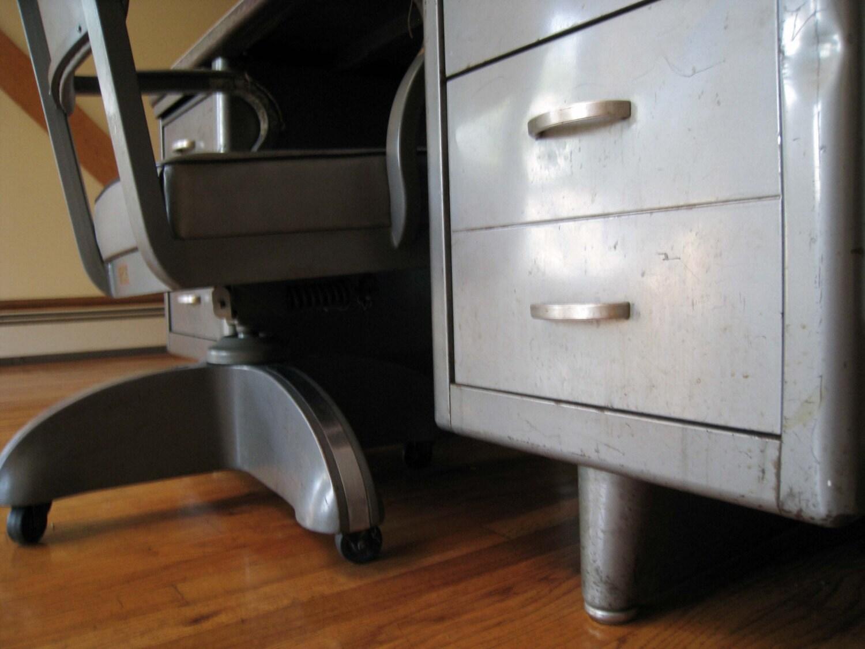 Vintage Industrial Tanker Desk And Chair