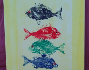 Gyotaku On Rice Paper and Canvas - 4 Pinfish 1