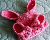 FREE SHIP - Bunny Hat and Shoe Set - 3-6 months, choice of colors