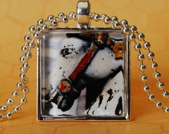 Glass Tile Photo Pendant French Quarter Horse Hitch XO122
