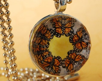 Butterfly Faceted Glass Tile Pendant Necklace Monarch SM102