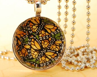 Butterfly Faceted Glass Tile Pendant Necklace Monarch XO116