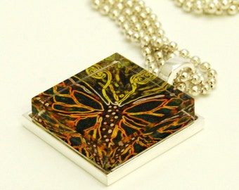 Glass Tile Photo Pendant Necklace Butterfly AC105