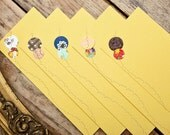 sewn stationery / set of five flat notes and envelopes / circles / custom made to order