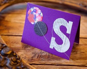 monogram ( ( S ) ) sewn personal stationery / set of five folded cards and envelopes / custom made to order