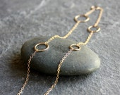 delicate gold hammered circle chain necklace- the maxi