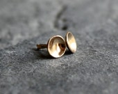 Solid 14K recycled yellow gold stud earrings - the teensy cups