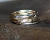 recycled silver and gold ring stackers- the stack