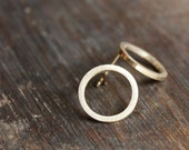 recycled 14K yellow gold post earrings- the circles