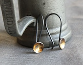 industrial recycled silver and gold earrings- the dark mirror