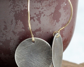 large oxidized silver disk and gold earrings- the luna