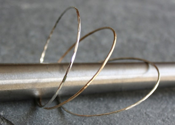 gold and recycled sterling thin bangles- the three stack