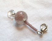 Lilac Thistle, Glass Beaded Flower Zipper Pull