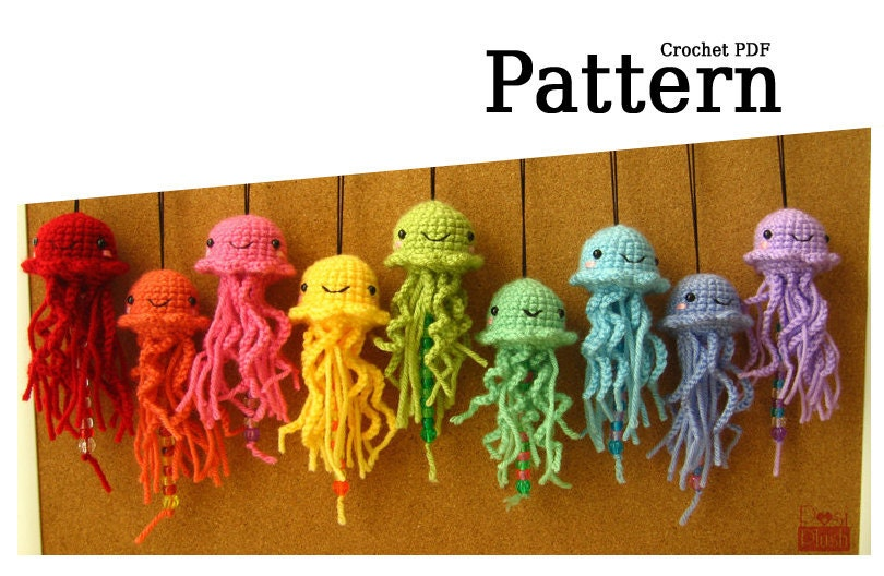 Free Crochet Pattern For Jellyfish : Pattern: Hanging Amigurumi Jellyfish