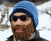 crochet beard hat unique gift for men boys blue beard hat blue beard beanie The Original Beard Beanie™ blue striped - S/M
