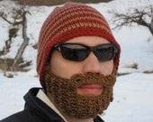 crochet beard hat, mens beard hat, knit beard beanie, crochet beard toque, mens mustache hat  The Original Beard Beanie™ red striped - S/M