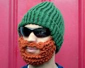 bearded lumberjack hat, green crochet beard hat, The Original Beard Beanie™  green beard hat, knit beard hat