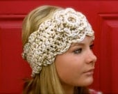Oatmeal headwarmer with flower - adjustable size