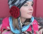 crochet pattern earflap hat with flowers