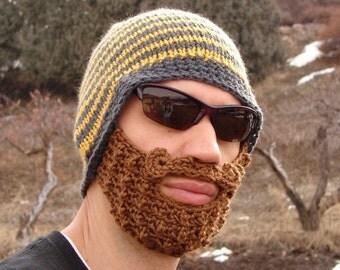 crochet beard beanie, knit beard hat, mens beard cap The Original Beard Beanie™ yellow and gray striped - L/XL bearded mustache hat
