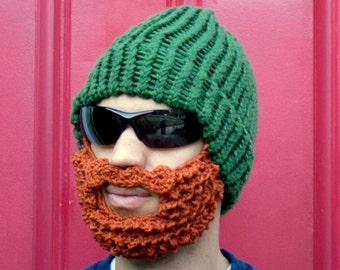 bearded lumberjack hat, green crochet beard hat, The Original Beard Beanie™  green beard hat, knit beard hat