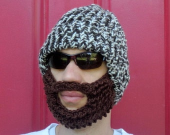 crochet beard hat, bearded lumberjack hat The Original Beard Beanie™ brown tweed lumberjack hat, crochet beard beanie, knit beard hat
