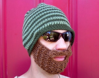 hat with beard crochet beard beanie mens bearded toque The Original Beard Beanie™ green striped - L/XL knit beard hat knit beard beanie