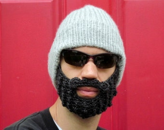 beard beanie hat crochet mustache cap The Original Beard Beanie™ Gray Stocking - S/M