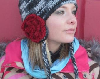 earflap hat with flowers womens crochet beanie swiss earwarmer