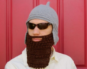 Assyrian Bearded Helmet hat crochet custom made The Original Beard Beanie™