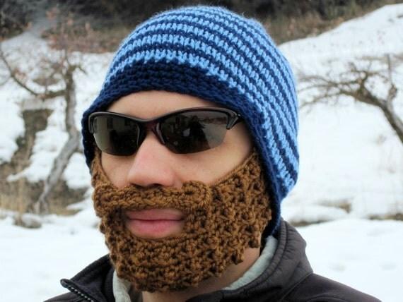 blue striped bearded beanie - L/XL