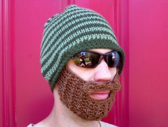 crochet beard beanie, crochet beard hat, knit mens beard cap, bearded toque, mustache hat, The Original Beard Beanie™- green striped - S/M
