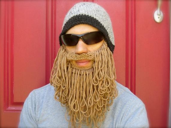 Shaggy Beard Beanie Grey With Light Brown Beard