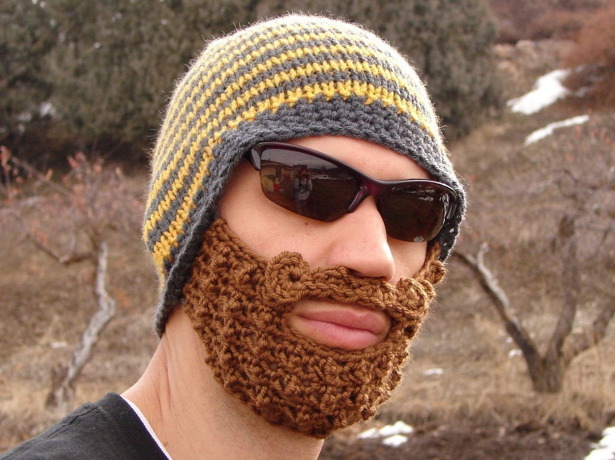 Beanie Hat With Beard Crochet Pattern Free : yellow and gray striped bearded beanie