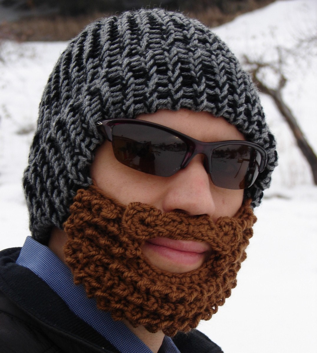 Black And Gray Bearded Lumberjack Hat