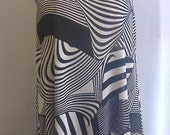 Coco and Juan Lagenlook Plus Size Black and Off White Knit Angled Tank Top Tunic  Bust  to 52 inches