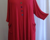 Coco and Juan Lagenlook Plus Size Top Cherry Red Knit Trapeze Tunic Size 1 (fits 1X/2X)  Bust 51 inches