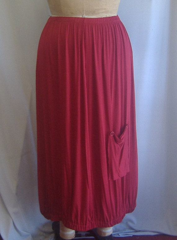 Coco and Juan Lagenlook Plus Size Skirt with Pocket Red Knit One Size, fits 1X,2X,3X