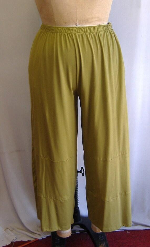 Coco and Juan Plus Size Lagenlook Sage Modal Cotton Knit Wide Leg Pant  Size 1 fits 1X,2X
