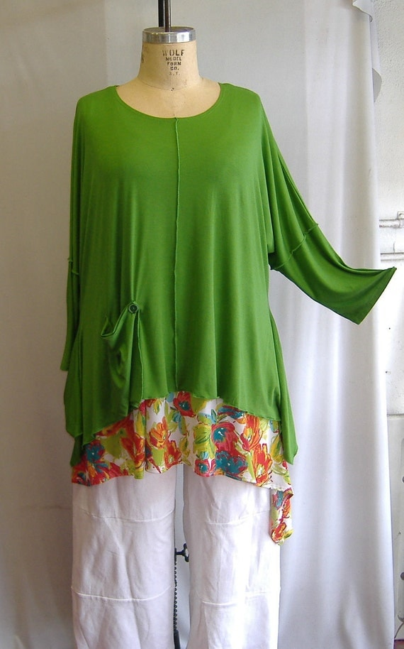 Coco and Juan Lagenlook Plus Size Top Key Lime Green Knit Angled Tunic Top One Size Bust  to 60 inches