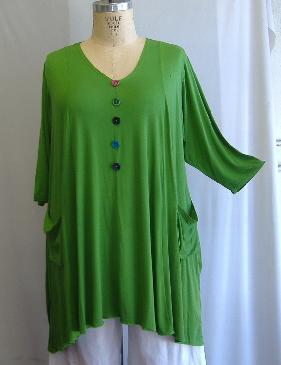 Coco and Juan Lagenlook Plus Size Top Key Lime Green Knit Trapeze Tunic Size 1 (fits 1X/2X)  Bust 51 inches