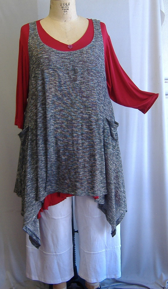Coco and Juan Plus Size Top Lagenlook Layering Tunic Tank Top Gray & White Heather  Knit Size  1 Fits 1X,2X  Bust  to 52 inches