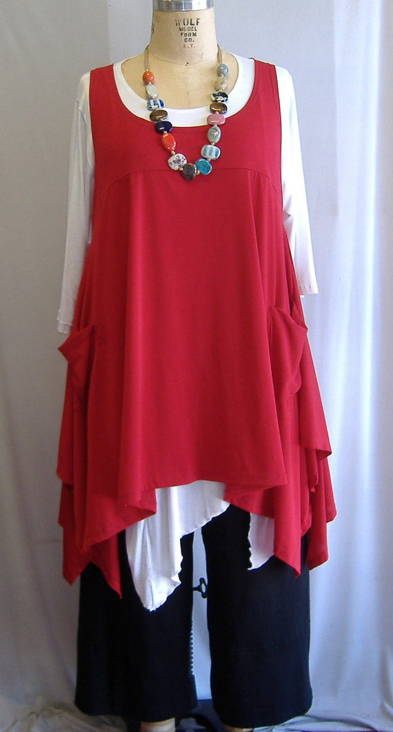Coco and Juan Plus Size Top Lagenlook Layering Tunic Top Red Traveler  Knit Size 1 Fits 1X,2X  Bust  to 51 inches