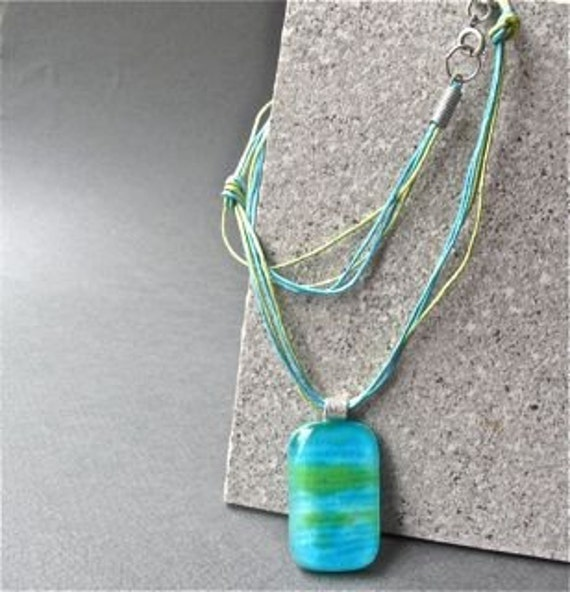Blue and Green Casual  Handmade Fused Glass Necklace