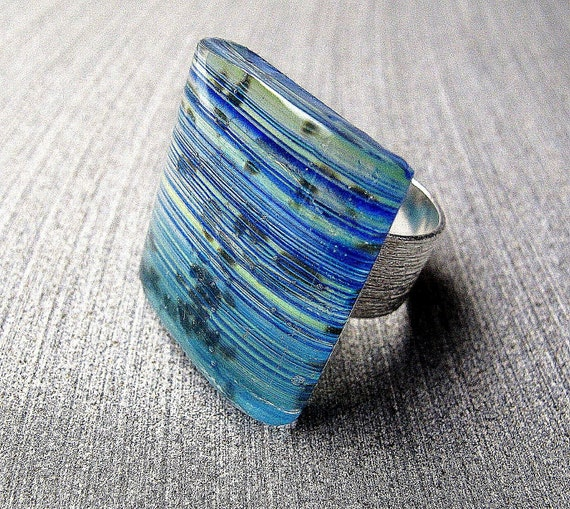 RESERVED for Lara Striped  Handmade Fused Glass Fashion Ring