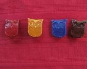 Owl Brooch- Handmade pin, Custom colors